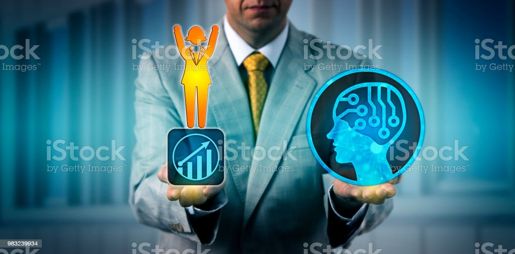 Executive Balancing Out One Female Worker With AI stock photo