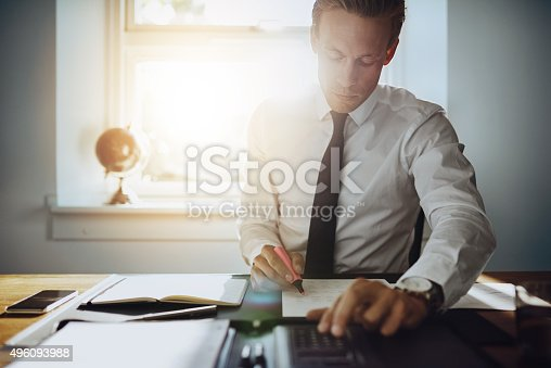 istock Executive business man working on accounts 496093988