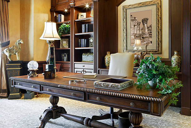 Executive Desk in a Beautiful Home Office stock photo