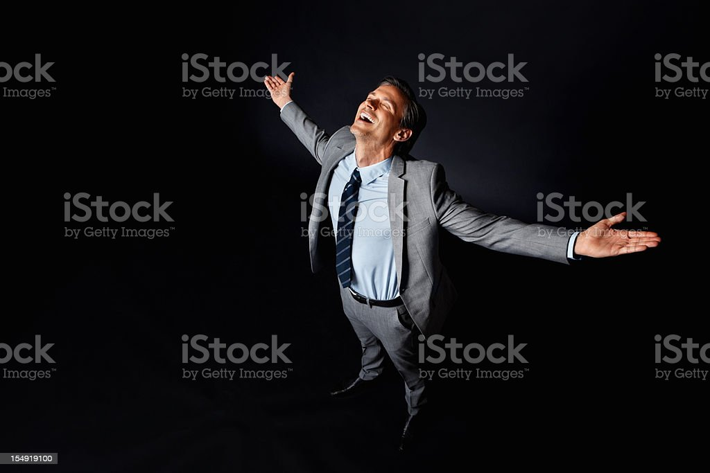 Executive enjoying his success royalty-free stock photo