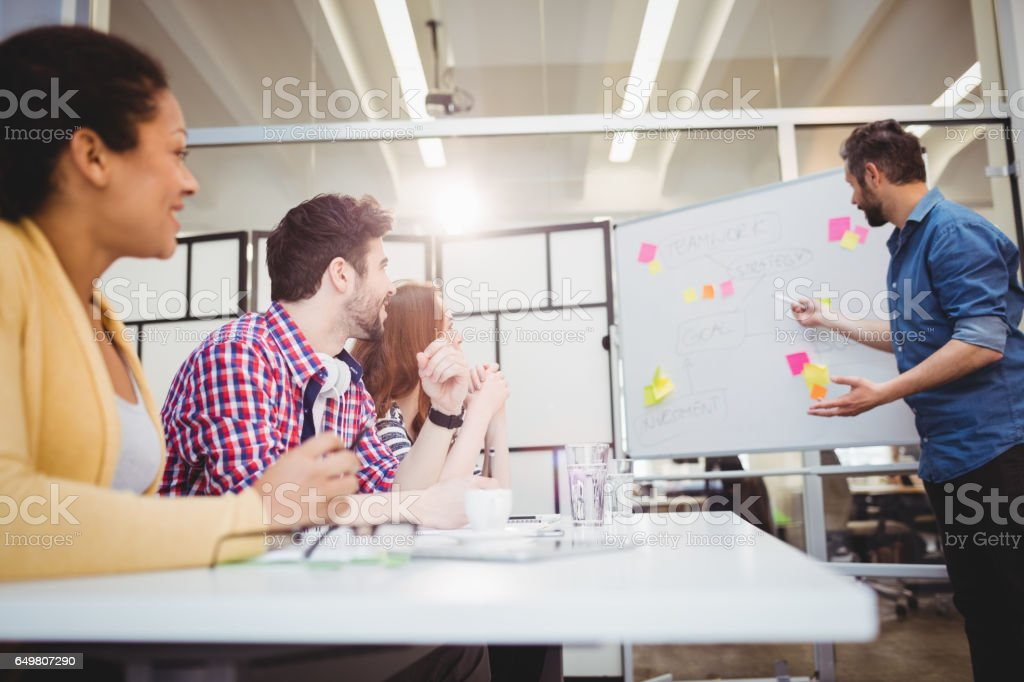 Exécutif, expliquer la stratégie de tableau blanc pendant le remue-méninges au bureau créatif - Photo