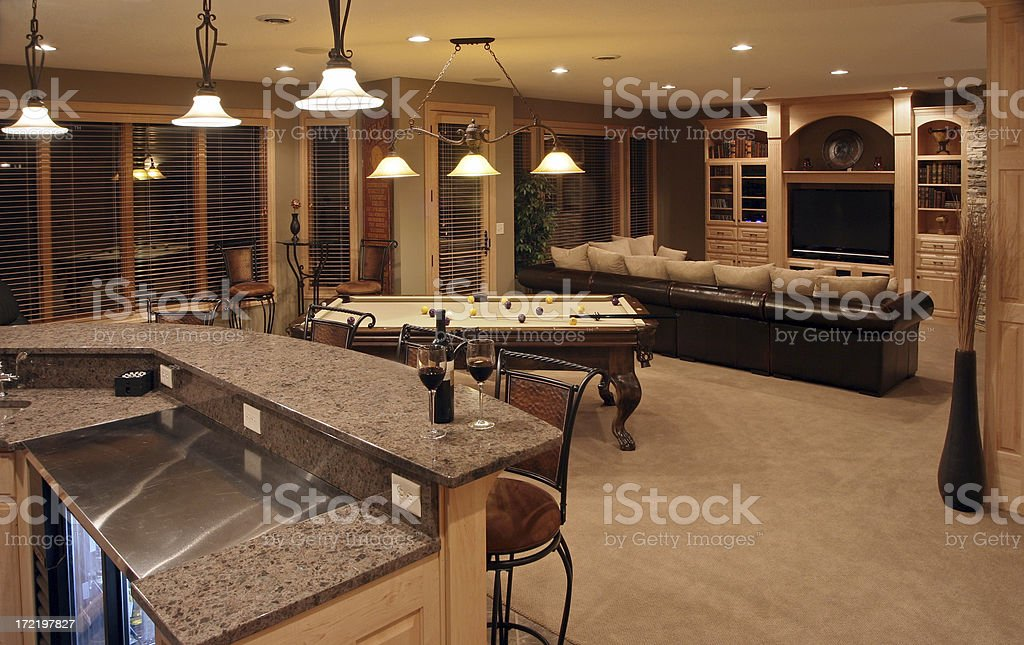 Executive Home Bar and Entertainment Room stock photo