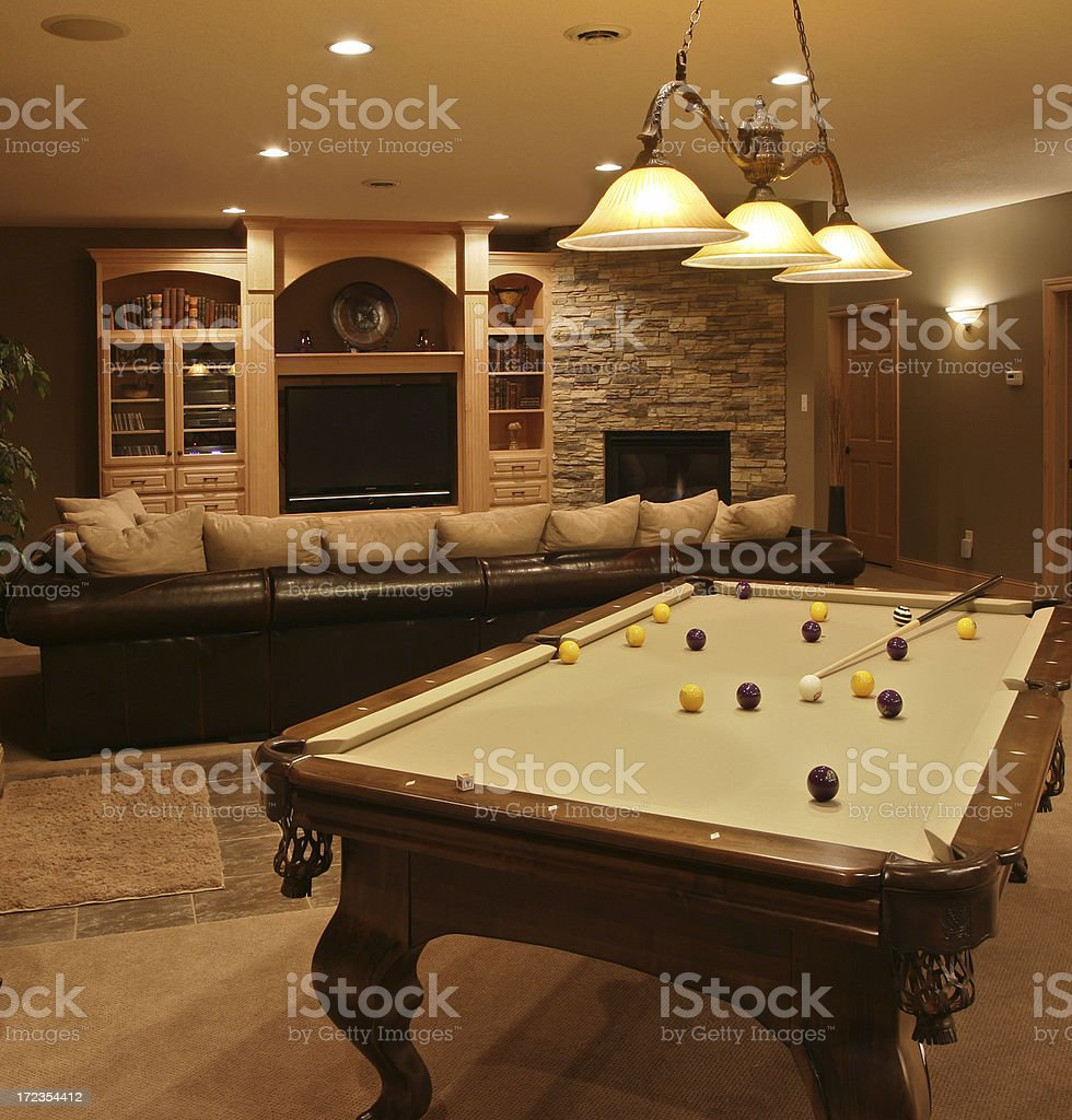 Executive Home Pool Table & Entertainment System royalty-free stock photo