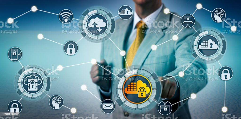 Executive Implementing Cloud Computing Security stock photo