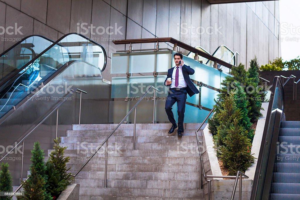 Executive in rush stock photo