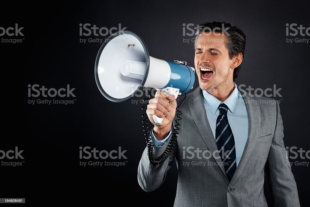 Executive making an announcement royalty-free stock photo