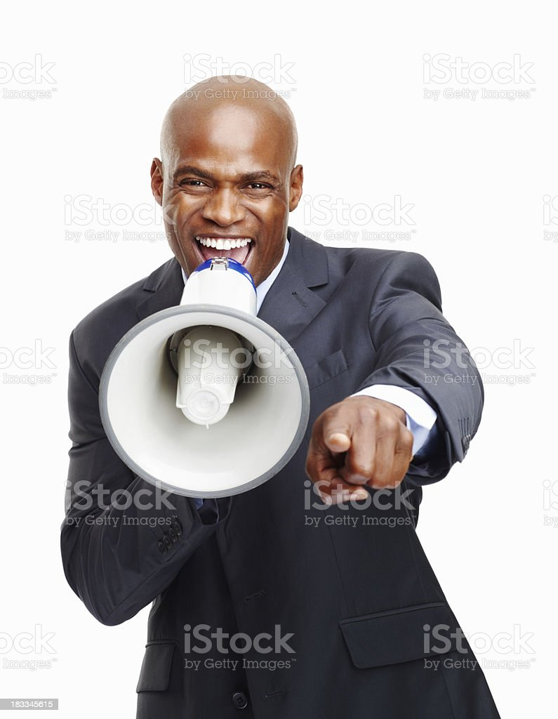 Executive making an announcement stock photo