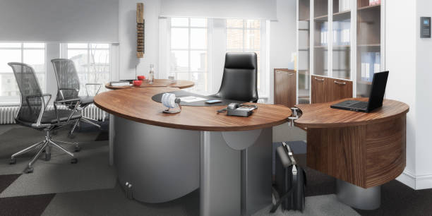 executive office 03 (panorama) - bemalter koffer stock-fotos und bilder