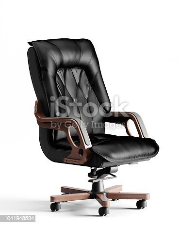 Digitally generated fancy executive chair (office chair) with  natural black leather combined with natural wooden elements, isolated on white background.  The scene was rendered with photorealistic shaders and lighting in Autodesk® 3ds Max 2016 with V-Ray 3.6 with some post-production added.