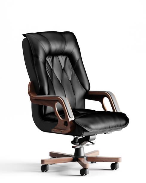白い背景で隔離のエグゼクティブ オフィスの椅子 - オフィスチェア ストックフォトと画像