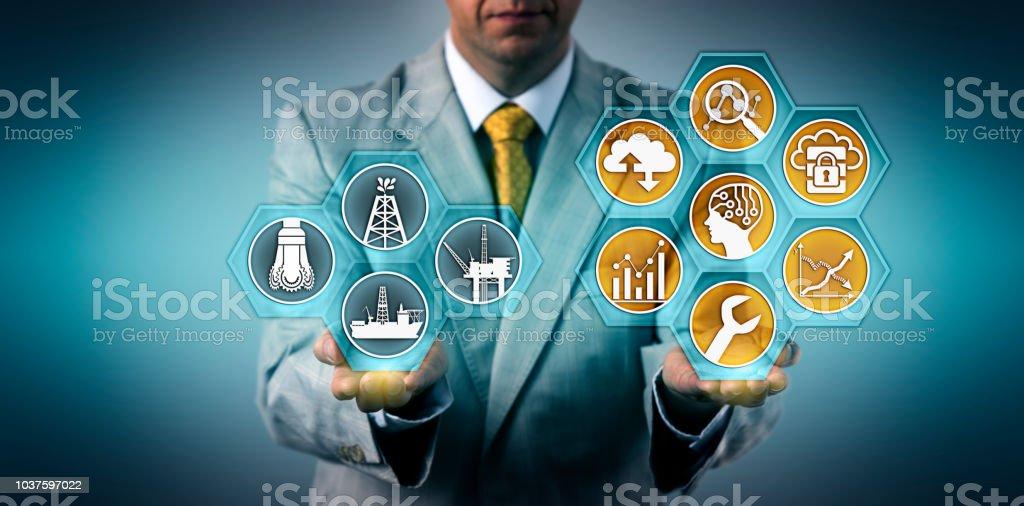 Executive Optimizing Well Performance Via Apps stock photo