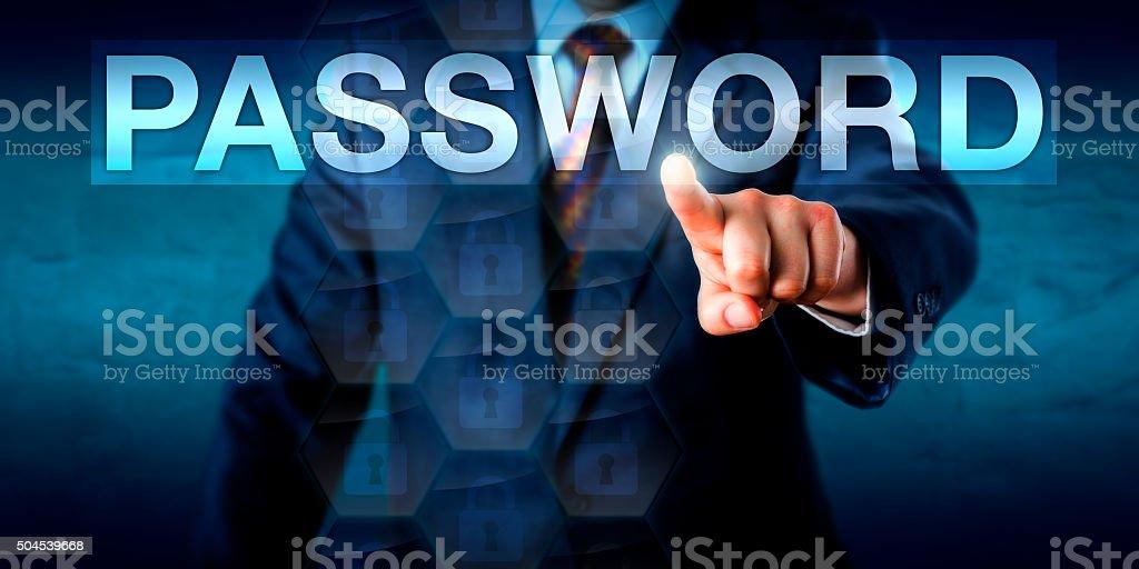 Executive Pressing A PASSWORD Text Box Onscreen stock photo