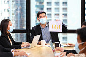 istock Executive team meeting during coronavirus or covid-19 for business new financial strategy after pandemic with all staff members wearing facial mask as of new normal and social distancing 1257575740
