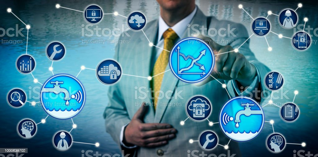 Executive Using Managed Water Metering Services stock photo