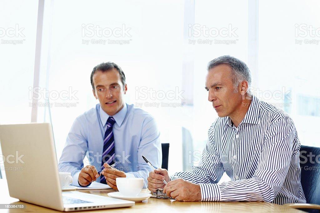 Executive viewing presentation on laptop royalty-free stock photo