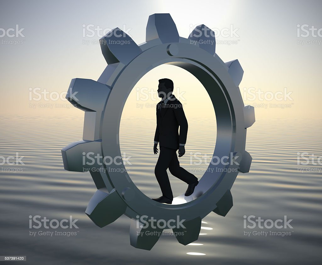 Executive walking inside a gear at sea since dawn. stock photo