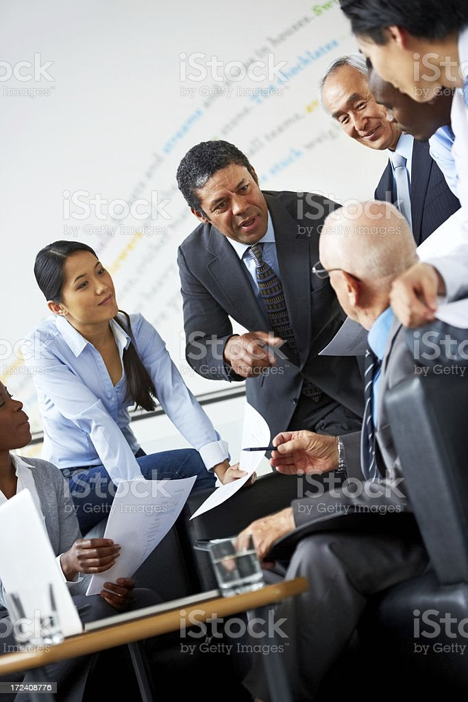 Executives brainstorming ideas royalty-free stock photo