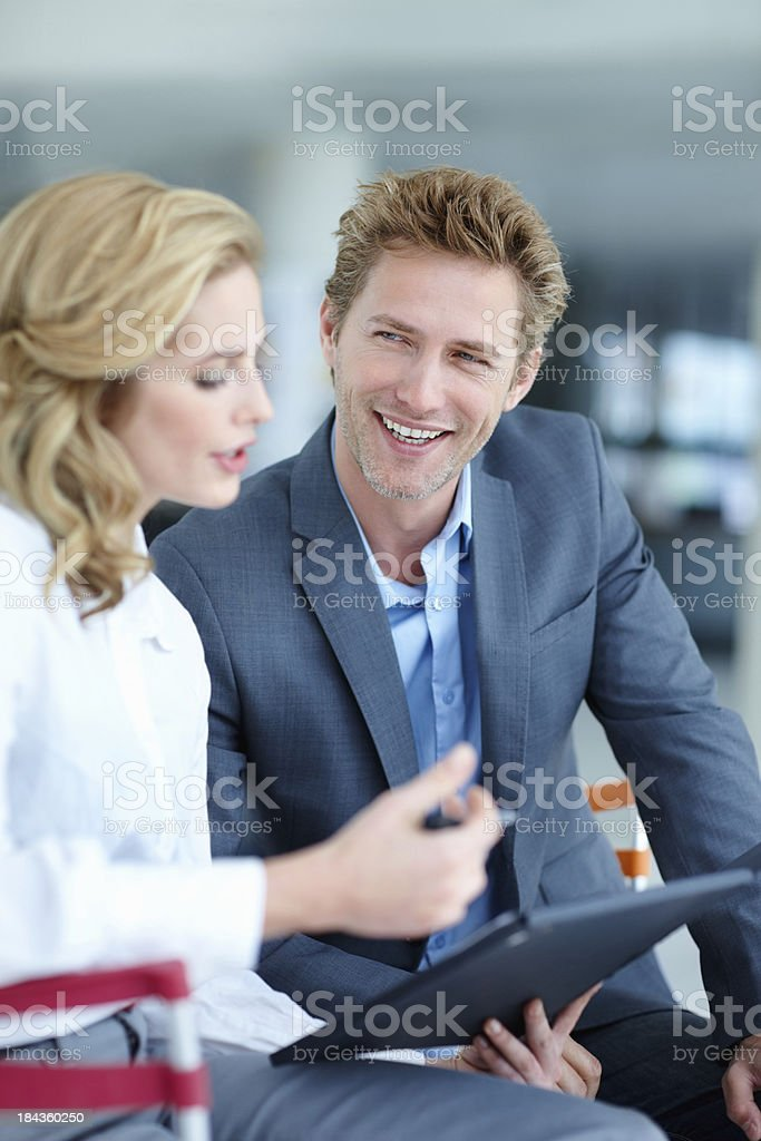 Executives having a happy conversation royalty-free stock photo