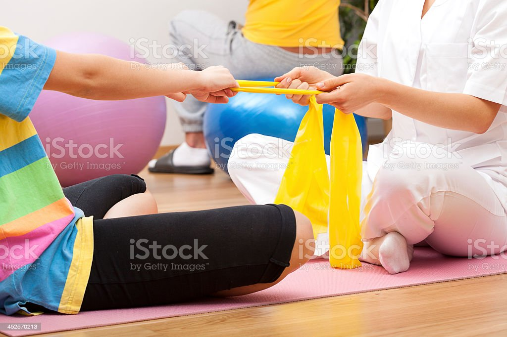 Exercices with the patient stock photo