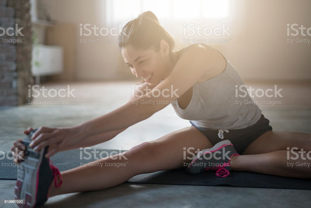 Exercise and smile! stock photo