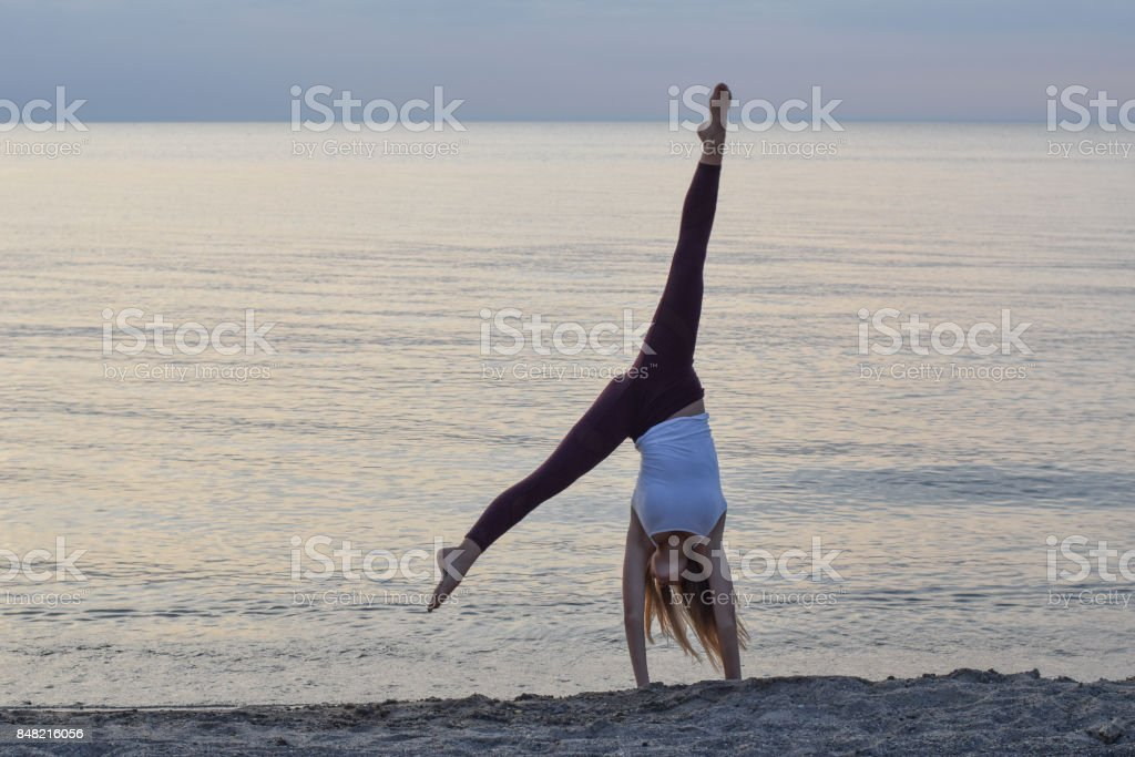 Exercise at the beach stock photo