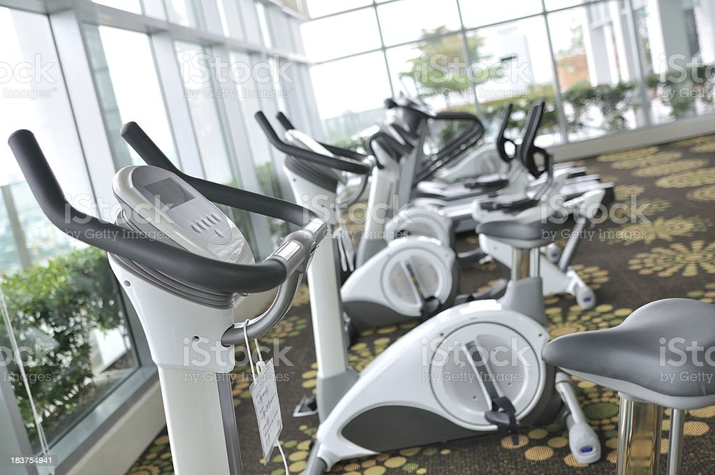 Exercise Bike in Health club gym royalty-free stock photo