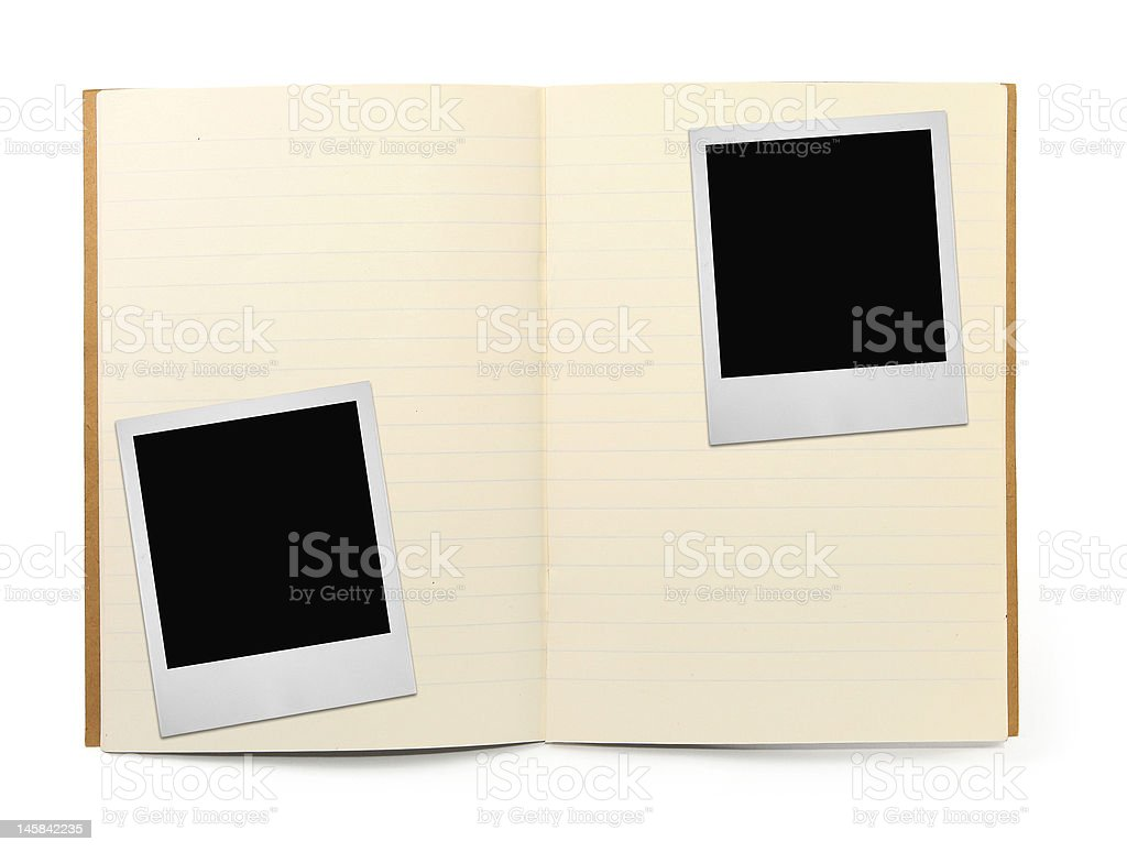 exercise book and two photo frames royalty-free stock photo