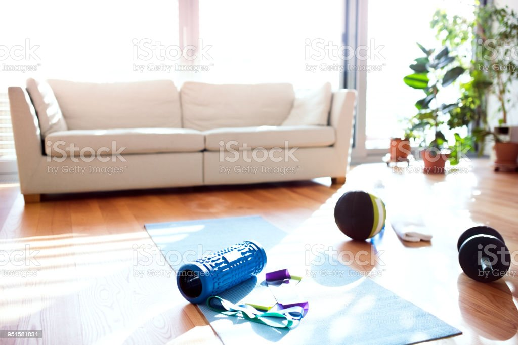 Exercise equipment on the floor at home. No people. stock photo