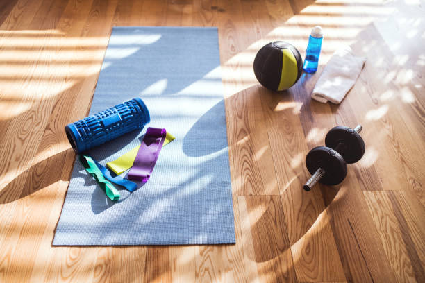 Exercise equipment on the floor at home. stock photo