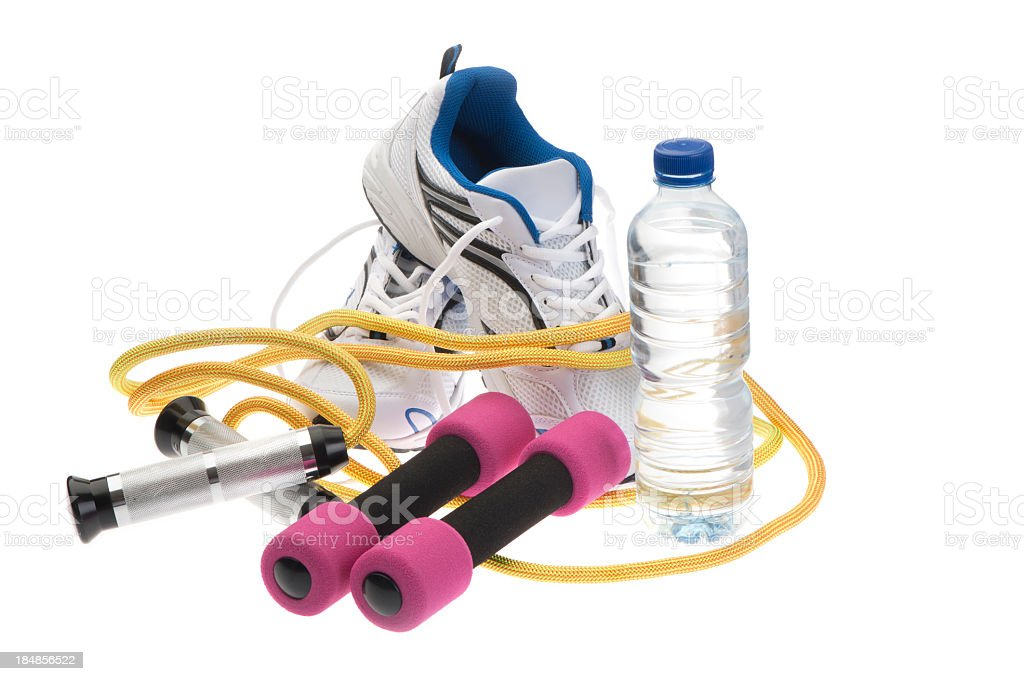 Exercise equipment set stock photo