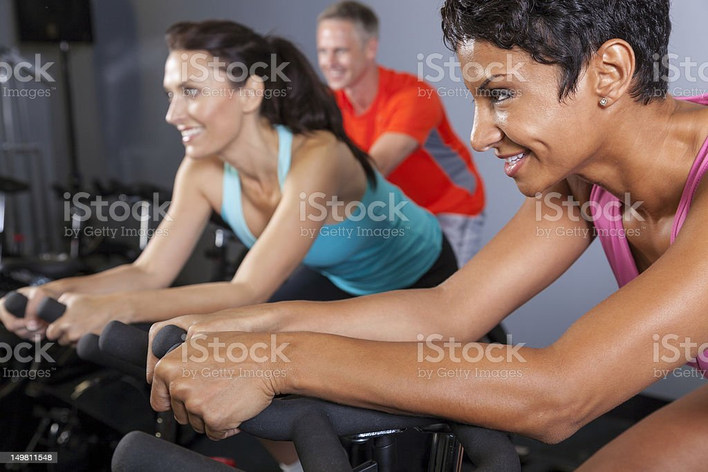 Exercise Spinning Class in Gym stock photo
