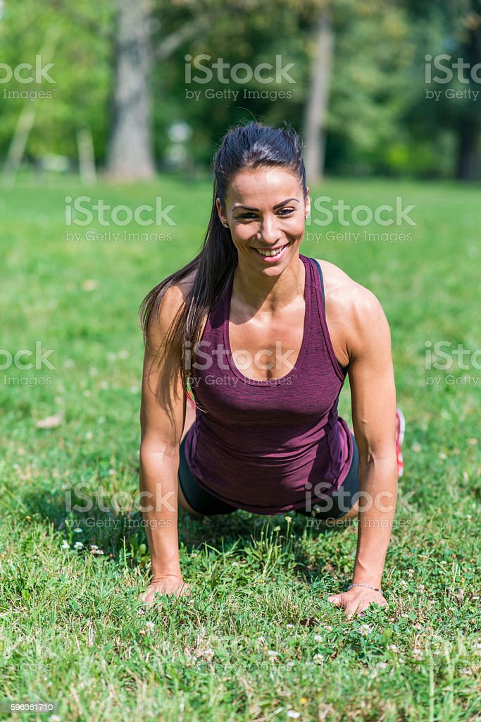 Exercise in the park royalty-free stock photo