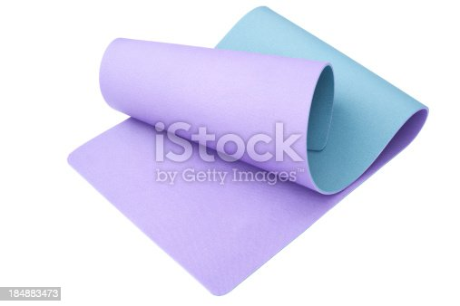 Exercise mat; isolated on white.
