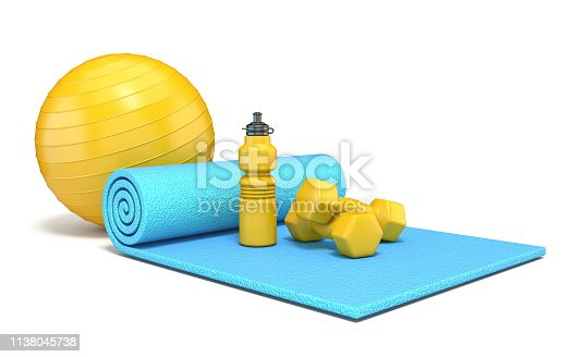 Exercise mat with weights, fitness ball and water bottle 3D rendering illustration isolated on white background