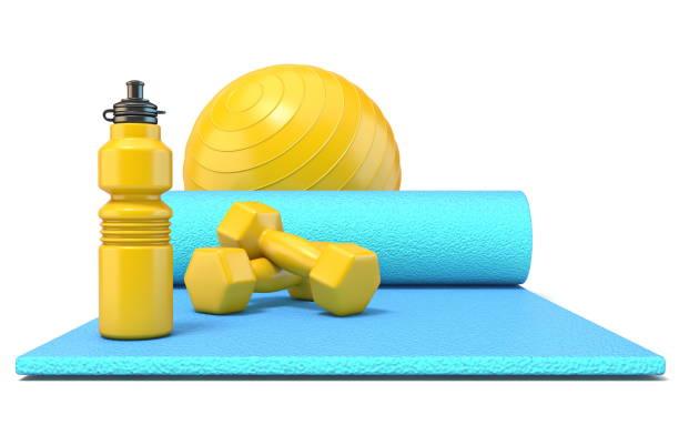 運動墊與重量, 健身球和水瓶前3d - 剪貼畫 個照片及圖片檔