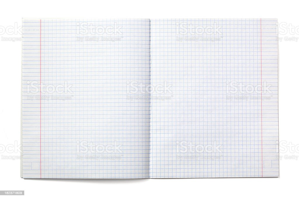 Exercise notebook with checked paper (XXXL) royalty-free stock photo