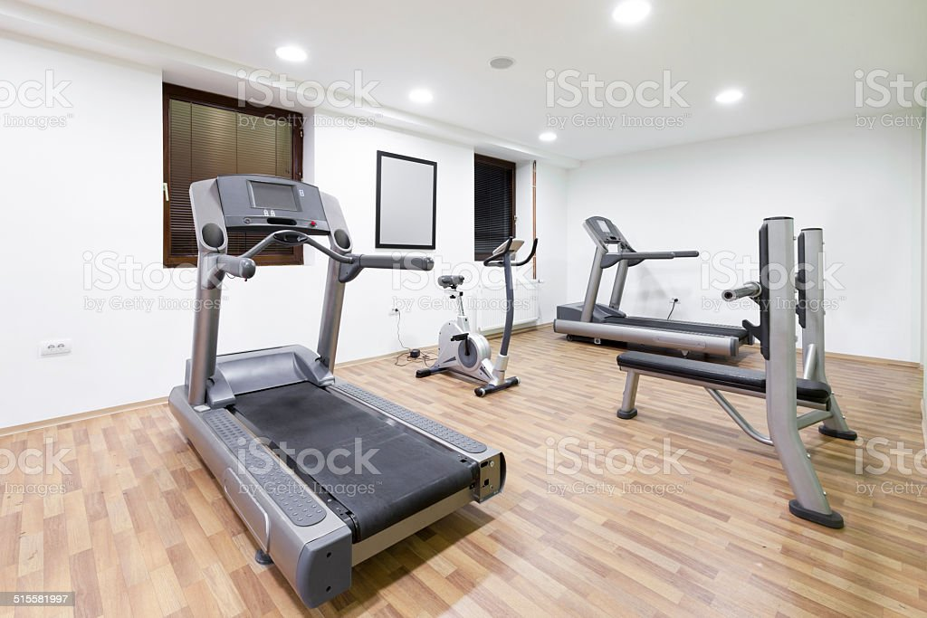 Exercise room with equipment stock photo