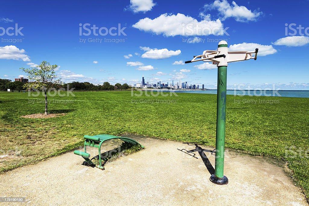 Exercise station in Burnham Park, Chicago royalty-free stock photo