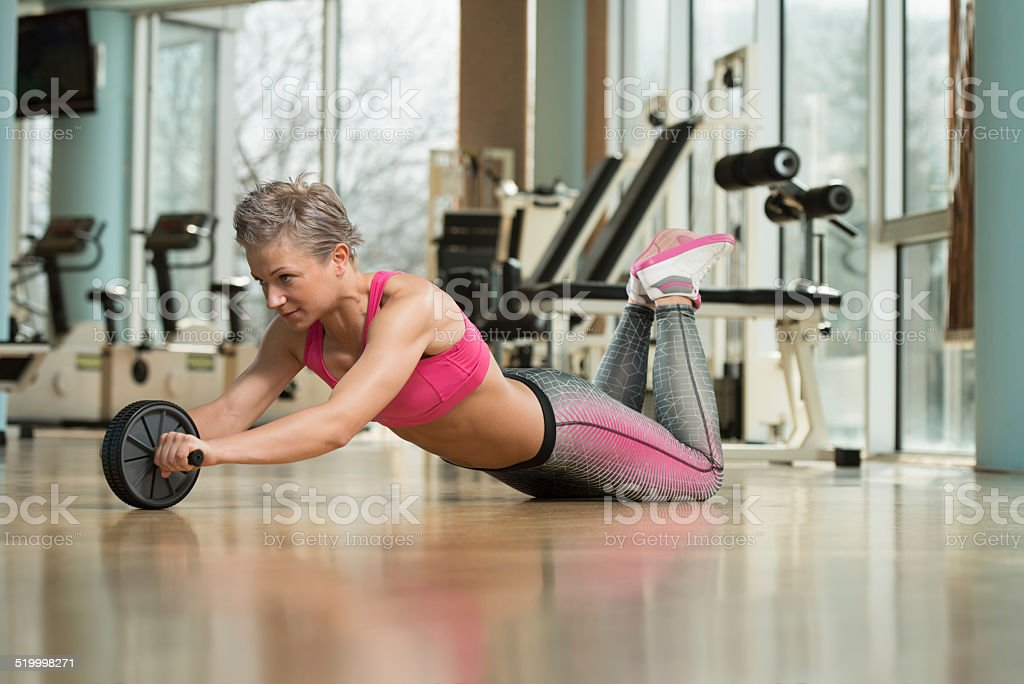 Exercise Whit A Ab Roller stock photo