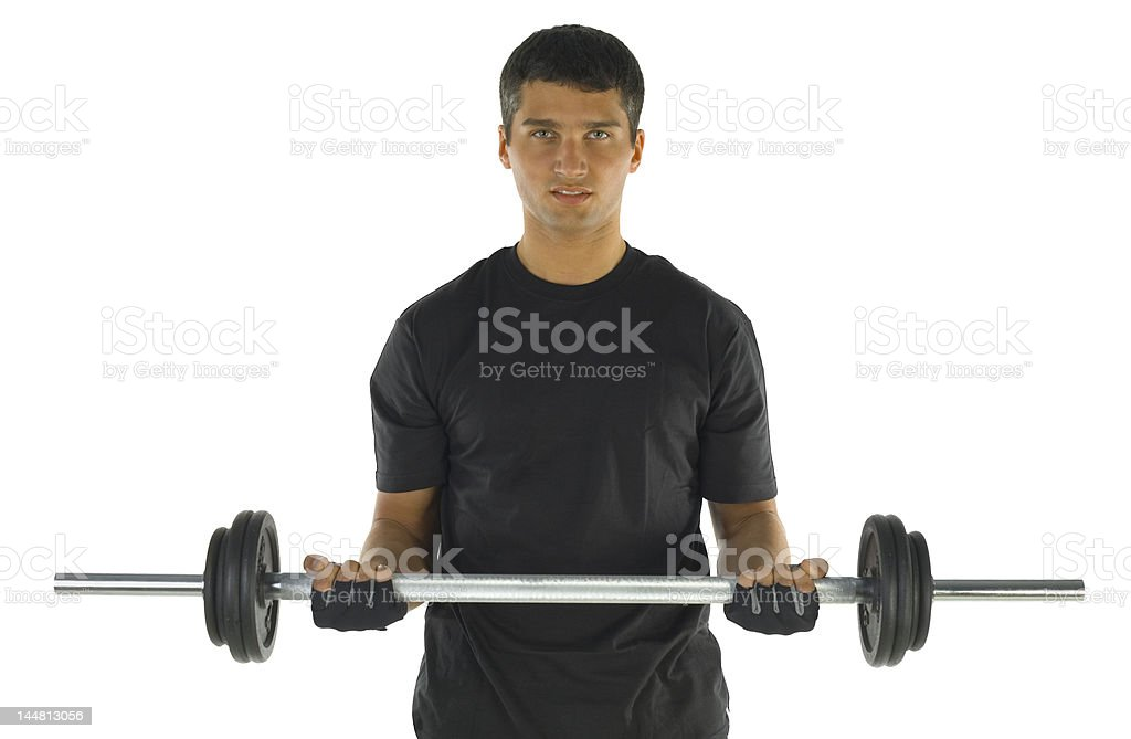 Exercise with barbell royalty-free stock photo