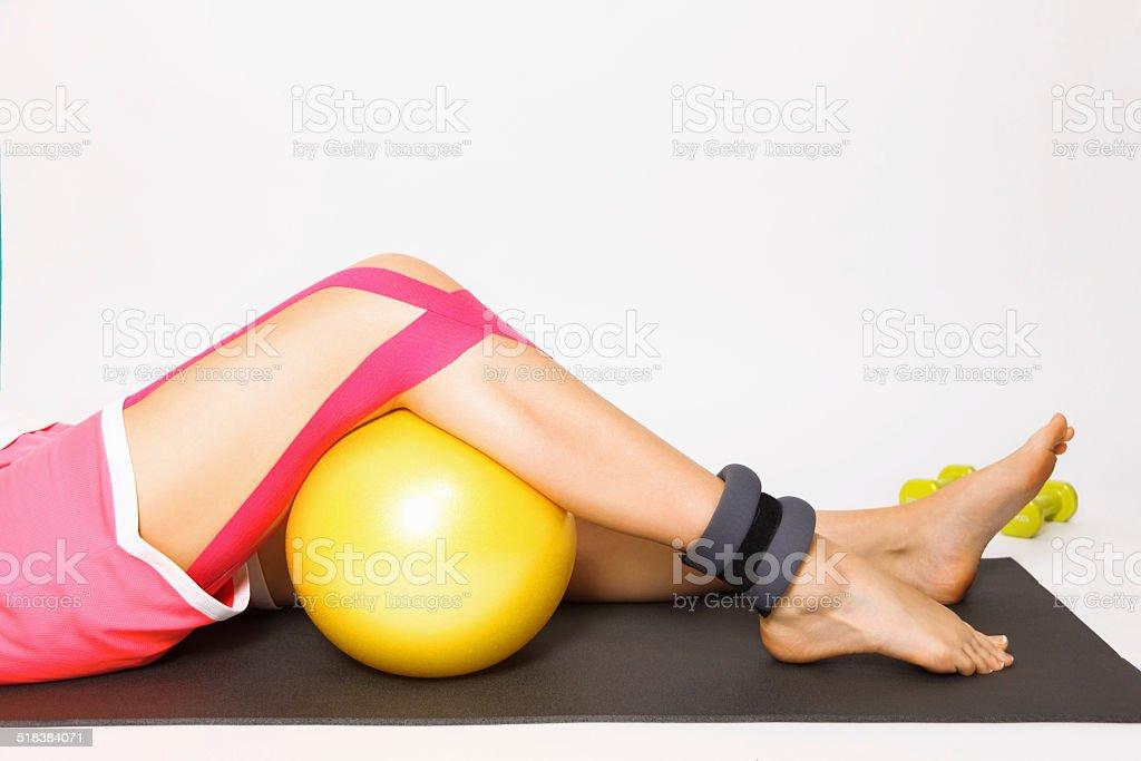 Exercise with injured leg stock photo
