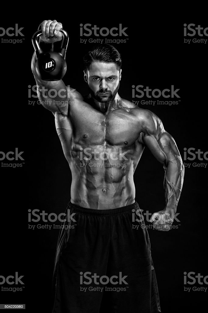 Exercise With Kettle Bells stock photo