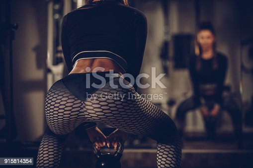 istock Exercise with kettlebell 915814354