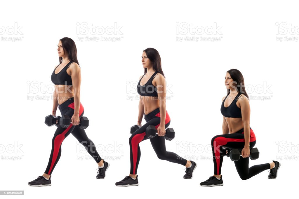 exercises for the buttocks with dumbbells stock photo