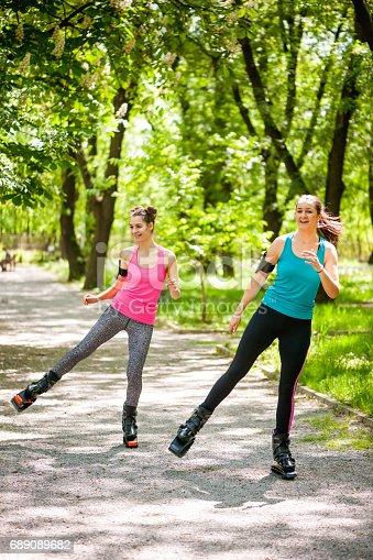 istock Exercises with kangoo boots 689089682