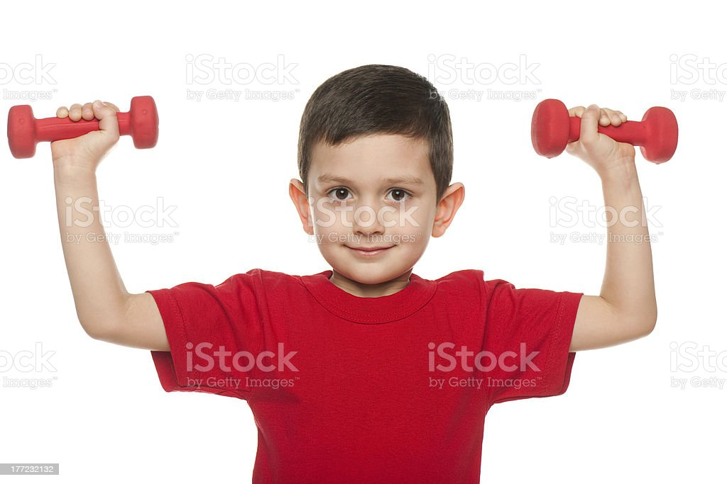 Exercises with red dumbbells royalty-free stock photo