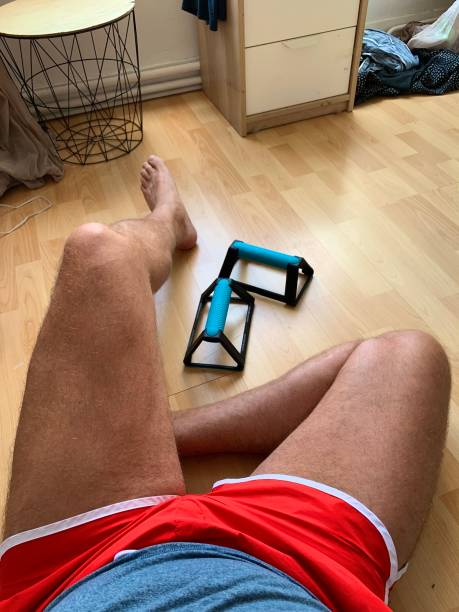 Exercising at home. stock photo