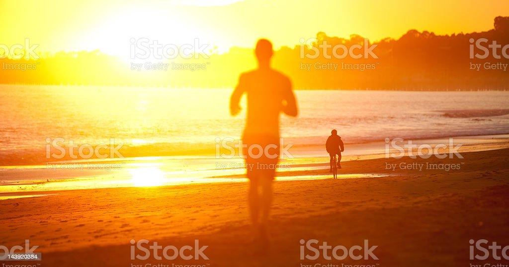 Exercising at sunset in Santa Barbara, CA royalty-free stock photo