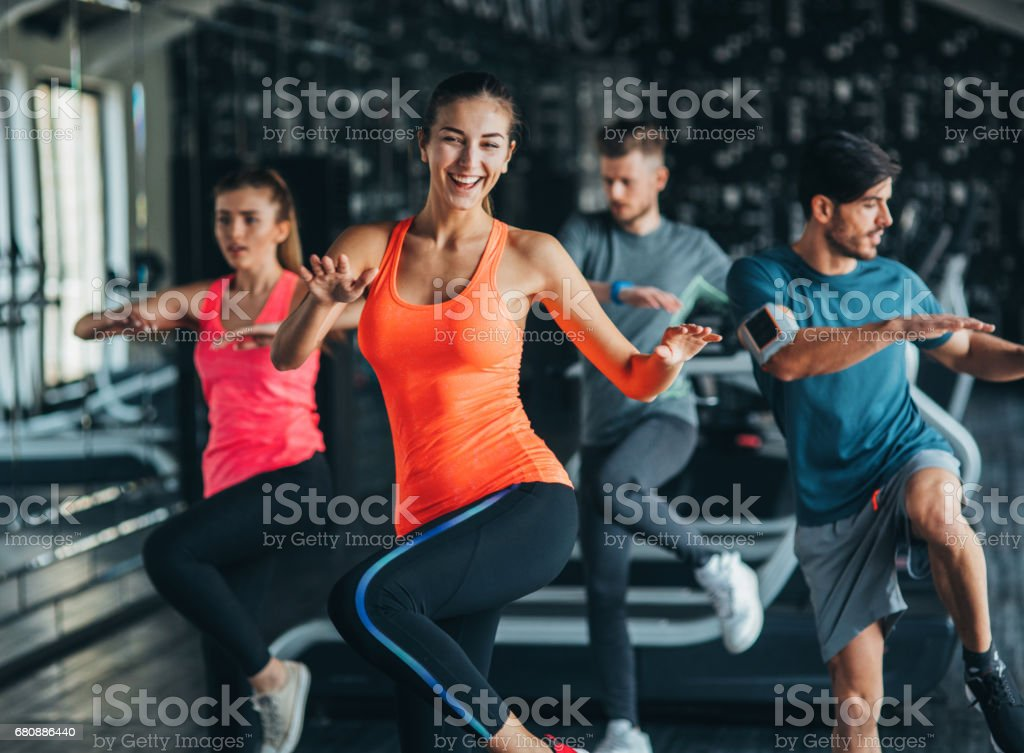 Exercising at the gym stock photo