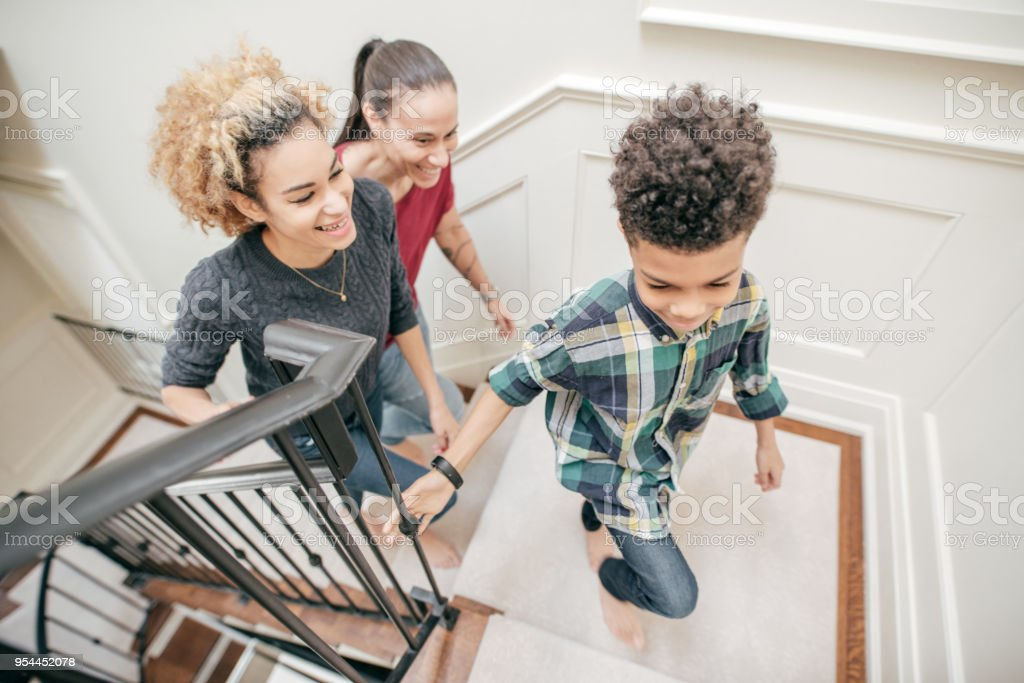 Exercising at the staircase stock photo